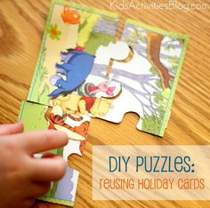 Make a Puzzle: Reuse Holiday Cards, cute idea for valentines, Christmas, birthday cards...