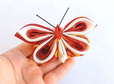 Red & white silk butterfly brooch and hair clip.