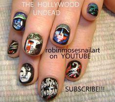 Nail-art by Robin Moses: hollywood undead nails, los angeles scene nails, rock nail art, rock nails, rock star nails, scene nails rap nail art, rock and roll nails, hardcore nails, scene nails, sexy dark nails, rock band nails, nail portraits, nail art gallery, robin moses blog,