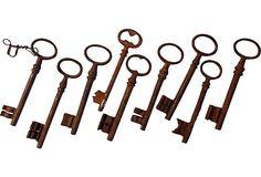 Antique French Keys, 9 Pcs. on OneKingsLane.com