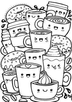 Kawaii Coffee free colouring page – Kate Hadfield Designs Cute Food Drawings, Cute Kawaii Drawings, Kawaii Doodles, Cool Art Drawings, Cute Doodles, Pencil Art Drawings, Art Drawings Sketches, Drawing Ideas, Cute Doodle Art