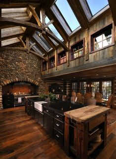 Farmhouse kitchen...oh, the cathedral ceiling and sky lights!