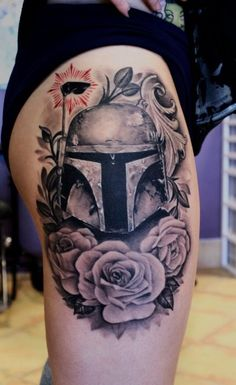 ellemunster:  Credits are in order here!  Tattoo by Josh Dobbs from Halifax Nova Scotia,  Can't believe far fast this picture has gone around the internet! So very proud to have this piece on my thigh!  Fett Life <3