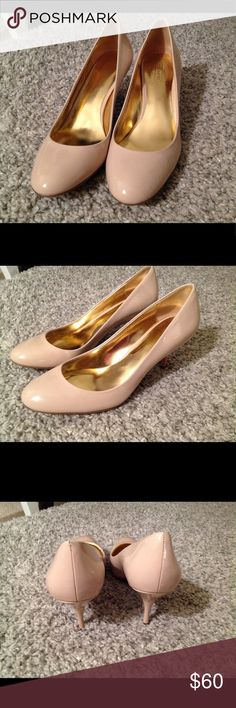 Coach heels, size 9 Beautiful cream Coach pumps with approx 2.5 inch heel.  Imagine them with a crisp white collared shirt tucked into some dark denim skinny jeans...throw on a statement necklace and you're good to go.  Very minimal wear and the patent is beautiful. Coach Shoes Heels