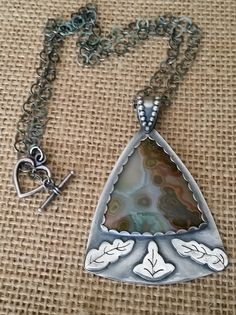 Ocean Jasper, sterling silver, pendant, Patina oxidized by Lindagezzini on Etsy