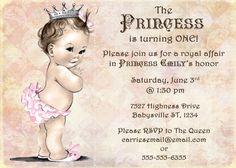 Princess Birthday Invitation For Girl - Princess Party- First Birthday Girl - DIY Printable. $13.00, via Etsy.