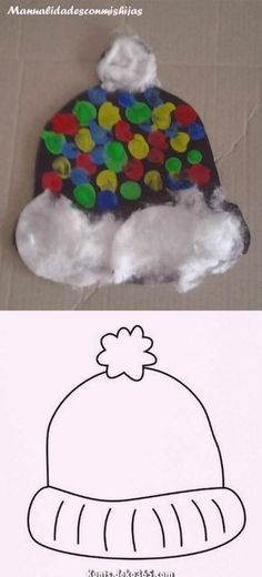carterie, pergamano et tableaux - Page 2 - Handicraftscomishijas: Winter hat made with fingerprints, tempera and cotton. Template winter hat m - Winter Crafts For Kids, Winter Kids, Winter Art, Winter Theme, Winter Christmas, Art For Kids, Daycare Crafts, Toddler Crafts, January Crafts