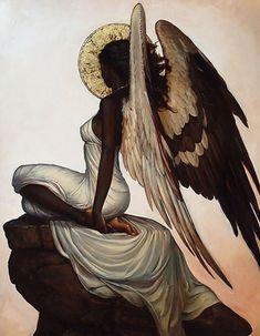Seraphim High Vigil 2016 Original Painting by Sequoia C. Versillee - Oil on Archival Acetate. Black Love Art, Black Girl Art, Art Girl, Black Art Painting, Black Artwork, African American Art, African Art, Foto Cartoon, Arte Indie