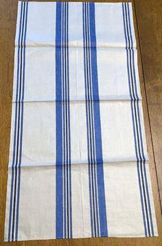 Unused Vintage Towel Crisp Linen Fabric Woven Blue by AStringorTwo
