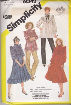 Vintage Simplicity 6042 Maternity Pattern size 14-16-18, NEW AND UNCUT! Gunny…