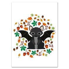 Oktoberdots Postkaart Seasons Herfst Vleermuis