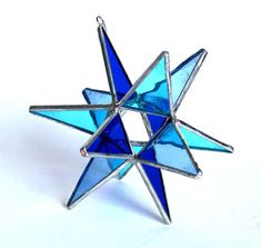 NEW Stained Glass Moravian Star - Four Seasons Winter Blue -Home Decor- 4.5    This is a brand new design for the Four Seasons collection.  Spring Green
