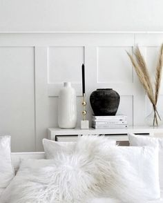 I'm completely in love with cladding for bedrooms and living areas, but I don't think we'll do that in our first home just yet. As much as I'd love to go to this weekend and do it! Monochrome Interior, Simple Interior, Minimalist Interior, Interior Styling, Interior Design, Hygge, Living Etc, Silver Blonde, Flat Lay Photography
