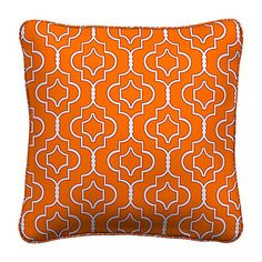 """Improvements 15'' Throw Pillow 15""""x15""""x6"""" - Taza Orange Tile (21 ILS) ❤ liked on Polyvore featuring home, outdoors, outdoor decor, 415085, outdoor throw pillows, outside garden decor, outdoor patio decor and outdoor patio pillows"""
