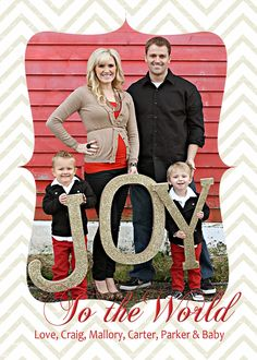 Christmas Card Idea; turn J-O-Y letters into Christmas wall Decor