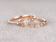 2ST Moissanite Bridal festgelegt Verlobungsring Rose gold