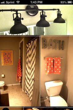 I like the bathroom colors and the polka dots- minus the alphabet for now lol