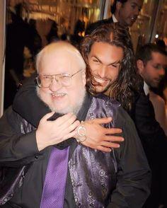 Khal Drogo, aka Jason Momoa, with GRRM.
