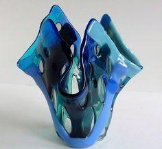 Fused Glass Vase or Candle Holder in Blue #glass #vase #blue