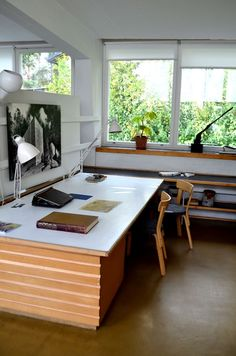 One of the highlights of my visit to Helsinki, Finland, was the studio and home of renowned Finnish architect and furniture designer Alvar Aalto, which are Studio Interior, Office Interior Design, Interior Exterior, Office Interiors, Interior Architecture, Home Office, Best Office, Office Decor, Alvar Aalto