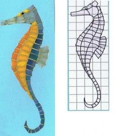 Mozaiekpatroon zeepaard | * Gratis mozaiekpatronen | MILLY`S Crea en Deco