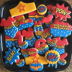 Custom Wonder Woman themed cookies To see my other work or for more info on how to order, please visit my page or website www.facebook.com/busybeecakery www.busybeecakery.com Email: malinda@busybeecakery.com