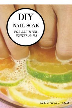 This at home nail soak will gently remove yellowness and spots as well as strengthen nails after just 1 use! White Spots On Nails, White Nails, Dark Spots, Bright Nails, Yellow Nails, Diy Nails Soak, Diy Makeup Remover Wipes, Grow Long Nails, Hand Soak