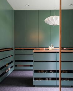 """We wanted to build in joinery to punch off the white walls and become strong features of the house;"" and dark green and dusty blues against light ash and oak timber helps tone down the joinery by making it playful and fun.  Emilio Fuscaldo @nestarchi  Read the full story on #habitusliving link in profile!  #colour #wardrobe #closet #home #interiors #interiordesign #architecture #archidaily #australianarchitecture #nestarchitects  @laurenbamford by habitusliving"