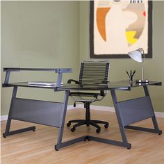 The Lumiere L Desk with Shelf is available in your choice of a black frame with a smoked glass top or white powder-coated steel frame with white glass. $299.00