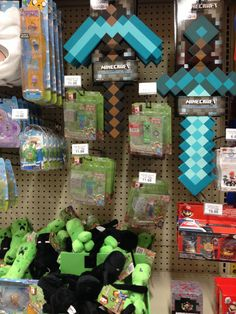 Gift ideas for Zack.  Minecraft stuff  Toys r us