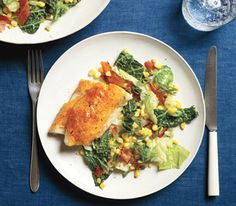 Cajun Fish With Cabbage and Bacon Sauté Serve this spicy white fish with crisp bacon and a colorful side of veggies.