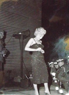 Marilyn Monroe while performing for the troops in Korea, February 1954.
