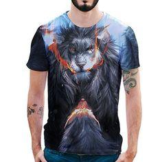 Kineede Mens Short Sleeve T-Shirt Creative 3D Print Hipster Summer Round Neck Casual Tops Unisex Women Tees