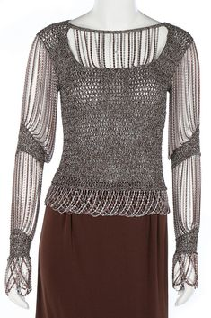 A Loris Azzaro silver and bronze crochet and chain-mail ensemble, 1970s.