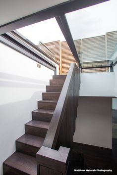 Glazing Vision's three-wall box rooflights were specified to allow direct access from the stairwell to the breath-taking outdoor space, whilst filling the stairwell below with natural daylight. Cabin Design, House Design, Rooftop Terrace Design, Building Management, Tiny House Loft, Balcony Doors, Modern Townhouse, Roof Extension, Wall Boxes