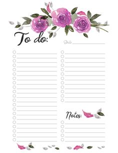 To Do Printable Planner witn Purple Watercolor Roses To Do Planner, Study Planner, Budget Planner, Planner Pages, Weekly Planner, Happy Planner, To Do List Printable, Daily Planner Printable, Planner Template