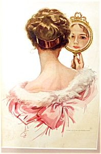 $99 Vintage Print Vanity Mirror Victorian Lady in Pink Harrison Fisher c.1911