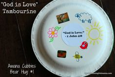 """God is Love"" Tambourine – Cubbies Bear Hug #1 Craft meaningfulmama.com"