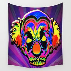 Creepy Clown Trippy Psychedelic Iconic Character Design #2 Wall Tapestry