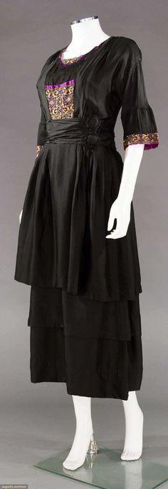 """Hollander, Boston, New York & Newport"" label, tierred skirt, bodice insertion & cuffs of gold lace on fuchsia silk satin, B to 36"", W to 27"", L 50.5"""