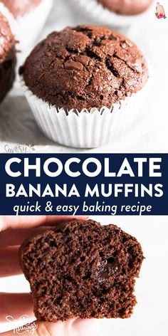 Healthy Chocolate Muffins, Double Chocolate Chip Muffins, Healthy Muffins, Chocolate Chips, Chocolate Muffin Recipe Easy, Healthy Muffin Recipes, Easy Baking Recipes, Healthy Baking, Banana Whole Wheat Muffins