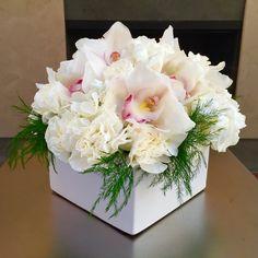 Fresh White Table Arrangements of Cymbidium Orchids, Carnations & Hydrangeas...
