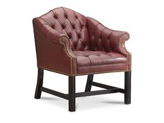 Fully tufted leather accent chair from Wellington's