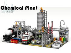 Chemical Plant Thank you for checking out this idea! I have always been fascinated by chemical plants. The sheer size, the enormity and complexity of [. Train Lego, Lego Trains, Lego Modular, Lego Design, Legos, Lego Factory, Construction Lego, Chemical Plant, Lego Worlds