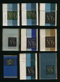 Players No 6 cigarette packets, 60s & 70s by retrowow, via Flickr