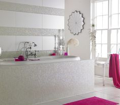 White and Pink Bathroom Magic Mosaic   Topps Tiles