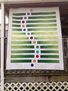 Beyond Horizons quilt. The stripes are pieced and the circles are appliquéd.