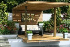 Outdoor art. Suspended deck RHS Tatton Park Flower Show Designer - Jamie Dunstan