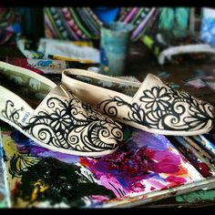 Custom TOMS Hand painted by artist Chelsea Rose by LucidOpticLab, $110.00