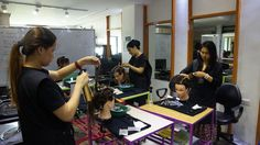 Just a typical #hairstyling class with the Diploma of Makeup and Certificate III in Hairdressing students